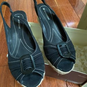 Naturalized espadrilles black with buckle in toes